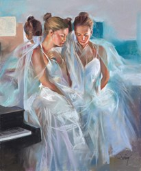 Las Bailarinas I by Domingo - Original Drawing, Paper on Board sized 20x24 inches. Available from Whitewall Galleries